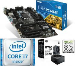 Upgrade Kit Intel Core i7-6700 8M Cache 3.40 GHz 1151 + MSI Z170A PC Mate s. 1151 + Cooler Master B700 V2 700W