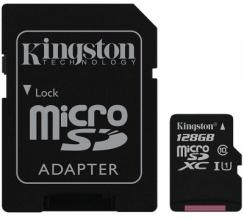 Карта памет Kingston 128GB microSDXC Canvas Select Class 10 UHS-I 80MB/s Read Card + SD Adapter