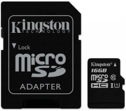Карта памет Kingston 16GB microSDXC Canvas Select Class 10 UHS-I 80MB/s Read Card + SD Adapter