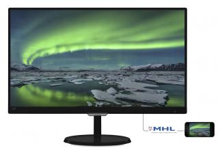 "Philips 23"" IPS монитор с Flickr Free, Full HD 1920x1080 5ms, Черен"