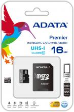 Карта памет A-DATA Premier 16GB, microSDHC/SDXC, UHS-I U1 Class10, Adapter